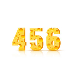 Cheese font 3d symbol numbers 4 5 6 set vector