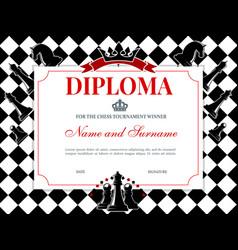 chess tournament winner diploma template vector image