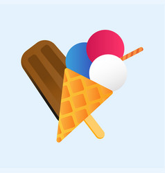 Chocolate vanilla ice cream cone soft delicious vector