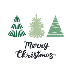 christmas greeting card with trees merry vector image