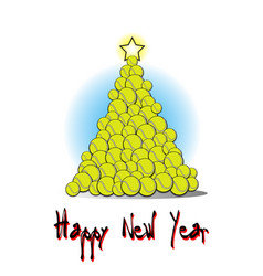Christmas tree from tennis ball vector