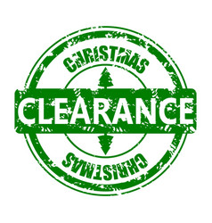 clearance christmas rubber stamp isolated on white vector image