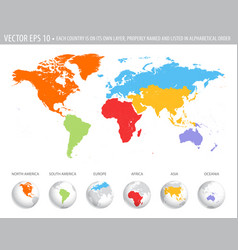 colorful world map vector image