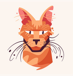 cute cat face flat vector image