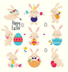 cute little bunnies set adorable pink easter vector image