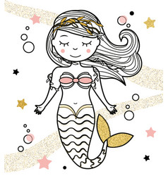 Cute mermaid character in hand drawn style vector