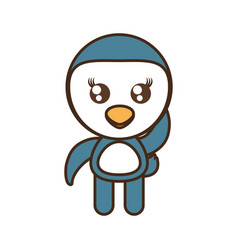 Cute penguin toy kawaii image vector