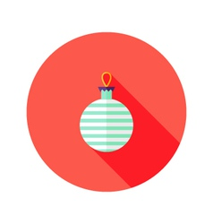 Decorative Stripped Christmas Ball Flat Icon vector
