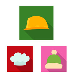 Design of headgear and cap sign set of vector