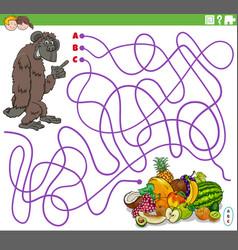 Educational maze game with cartoon gorilla vector