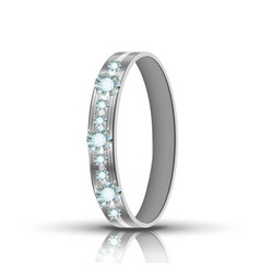 Encrusted silver ring with diamonds around vector