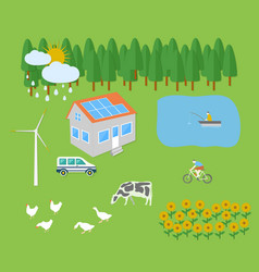 Farm vellage landscape vector