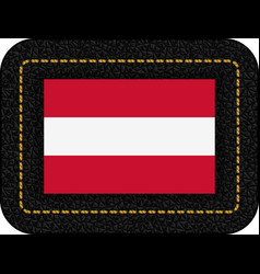 Flag of austria icon on black leather vector