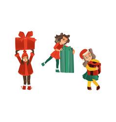 flat girls holding present box vector image