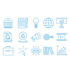 flat outline icons online education staff training vector image