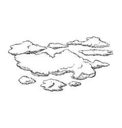 fluffy flying clouds and overcast retro vector image