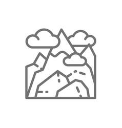 Georgian mountains kazbek mountain line icon vector