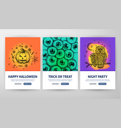 Halloween web flyer concepts vector