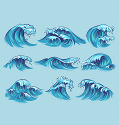 Hand drawn ocean waves sketch sea tidal blue vector