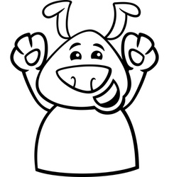 Happy dog cartoon coloring page vector