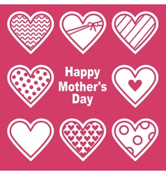Happy Motherss Day Card With Hearts vector image