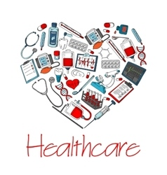 Healthcare medical heart poster vector