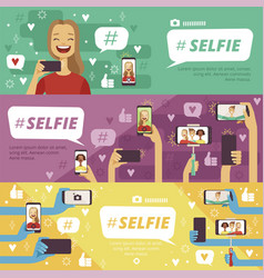 horizontal banners with people which making selfie vector image