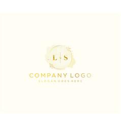 Initial ls letters colorful watercolor splash vector