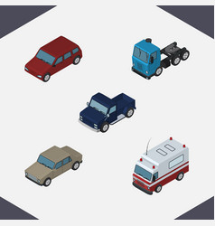 isometric automobile set of first-aid suv truck vector image