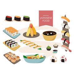 Japanese food collection realistic set vector