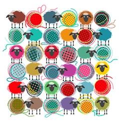 Knitting Yarn Balls vector image
