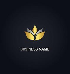 leaf lotus flower gold logo vector image