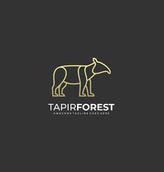 Logo tapir forest line art style vector