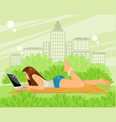 lying on the grass girl vector image