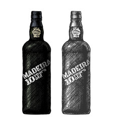 Madeira wine bottle vector