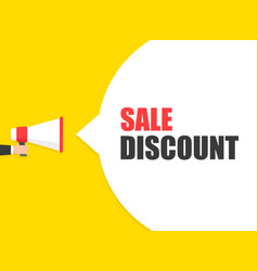 male hand holding megaphone with sale discount vector image
