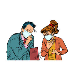 man and woman in masks dirty air illness vector image