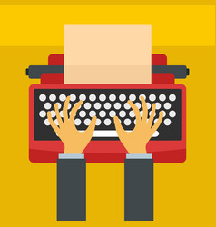 man hands on typewriter icon flat style vector image