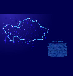 Map kazakhstan from the contours network blue vector