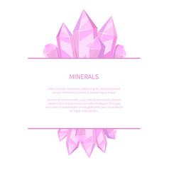 Minerals natural resources poster precious stones vector