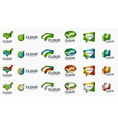 Modern cloud logo set vector