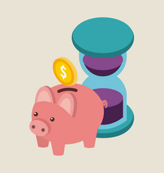 money piggy coin ssaving time business vector image
