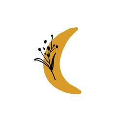 Moon plant logo minimalist label simple art vector