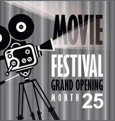 movie festival poster with old fashioned camera vector image