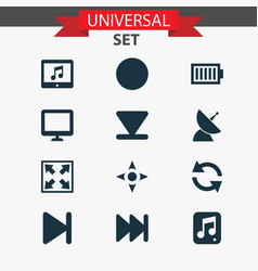 music icons set with next communication antenna vector image