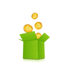 open cardboard box with golden coins for St vector image
