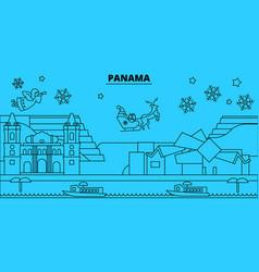 Panama winter holidays skyline merry christmas vector