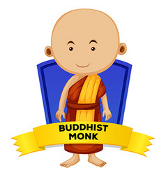 People wordcard with buddhist monk vector