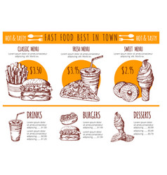 pictures of bistro menu restaurant fast vector image