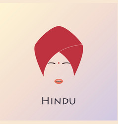 Portrait of indian princess in a traditional hat vector
